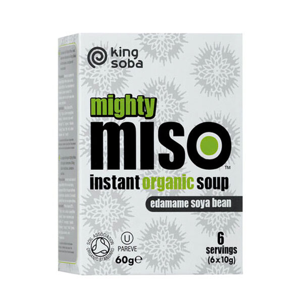 King Soba Organic Edamame Soya Bean Miso- Instant (6x10g)