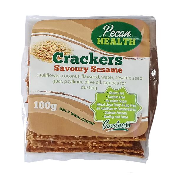 Pecan Health Savoury Sesame Crackers - 100g