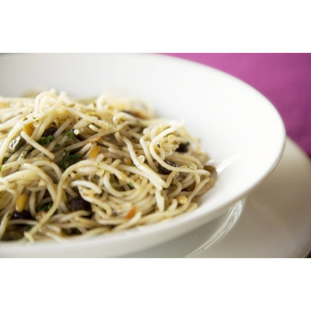 Spelt Spaghetti, Pine Nuts, Capers, Sultanas and Herbed Seeded Sprinkle