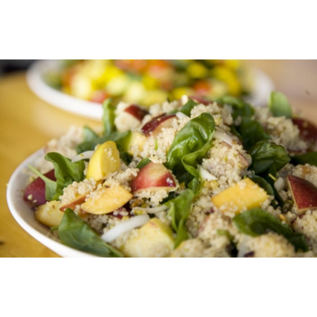 Whole-Wheat Couscous with Summer Peaches and Pistachios Recipe