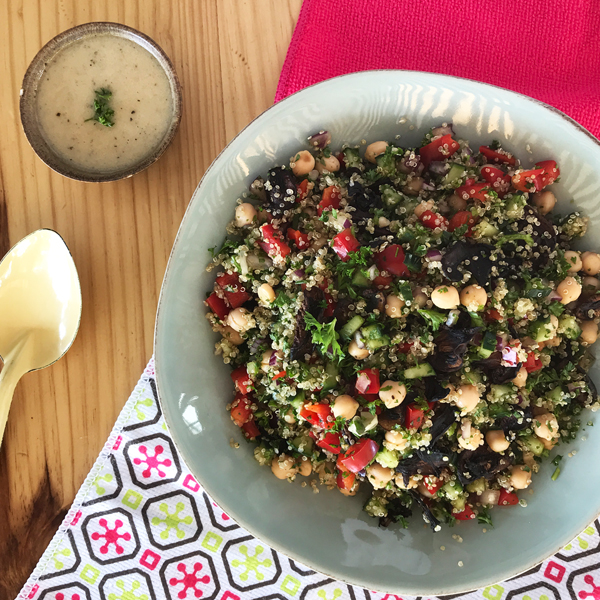 Try this Quinoa & Shredded Kale Salad recipe for a healthy alternative. Ingredients available from Fresh Earth Food Store.
